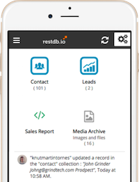 mobile and responsive database admin for restdb.io nosql database service